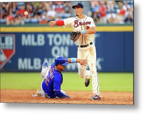 Atlanta Metal Print featuring the photograph Juan Lagares and Jace Peterson by Daniel Shirey
