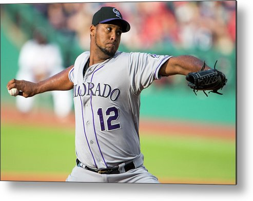 American League Baseball Metal Print featuring the photograph Juan Nicasio by Jason Miller