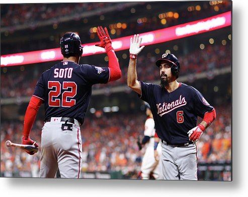 American League Baseball Metal Print featuring the photograph Juan Soto and Anthony Rendon by Mike Ehrmann