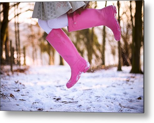 Child Metal Print featuring the photograph Jumping with pink boots by Olivia Bell Photography