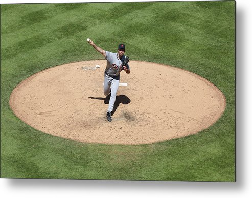 American League Baseball Metal Print featuring the photograph Justin Verlander by Ed Zurga