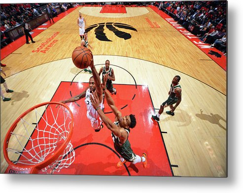Playoffs Metal Print featuring the photograph Kawhi Leonard and Giannis Antetokounmpo by Jesse D. Garrabrant