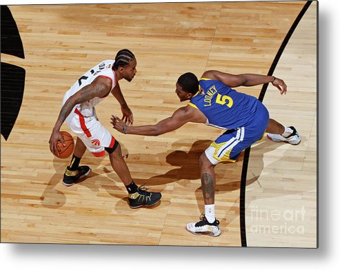 Playoffs Metal Print featuring the photograph Kawhi Leonard and Kevon Looney by Mark Blinch