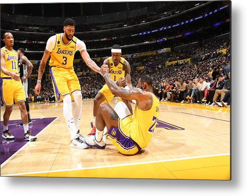 Nba Pro Basketball Metal Print featuring the photograph Kentavious Caldwell-pope, Anthony Davis, and Lebron James by Andrew D. Bernstein