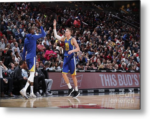 Nba Pro Basketball Metal Print featuring the photograph Kevin Durant and Jonas Jerebko by Jeff Haynes