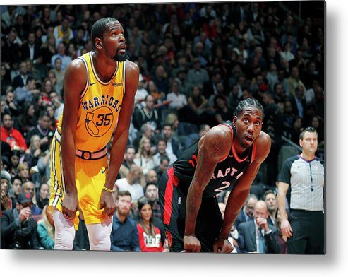 Nba Pro Basketball Metal Print featuring the photograph Kevin Durant and Kawhi Leonard by Mark Blinch
