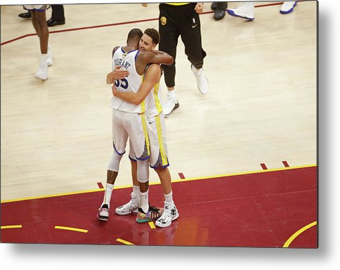 Playoffs Metal Print featuring the photograph Kevin Durant and Klay Thompson by Mark Blinch