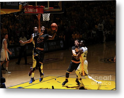 Playoffs Metal Print featuring the photograph Kevin Durant and Lebron James by Garrett Ellwood