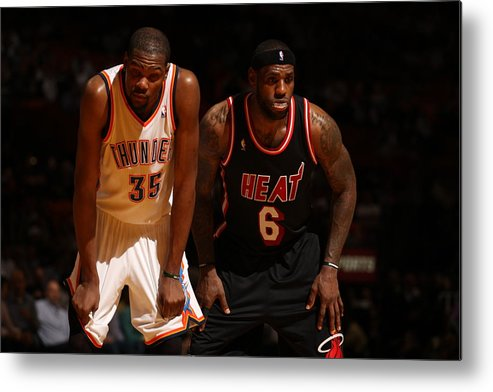 Nba Pro Basketball Metal Print featuring the photograph Kevin Durant and Lebron James by Issac Baldizon