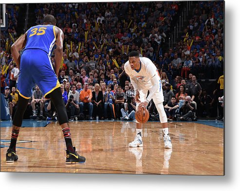 Nba Pro Basketball Metal Print featuring the photograph Kevin Durant and Russell Westbrook by Andrew D. Bernstein