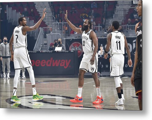 Nba Pro Basketball Metal Print featuring the photograph Kevin Durant, Kyrie Irving, and James Harden by David Liam Kyle
