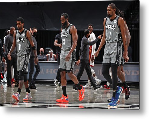 Nba Pro Basketball Metal Print featuring the photograph Kevin Durant, Kyrie Irving, and James Harden by Nathaniel S. Butler