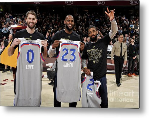 Nba Pro Basketball Metal Print featuring the photograph Kevin Love, Kyrie Irving, and Lebron James by David Liam Kyle