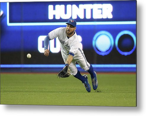 Ninth Inning Metal Print featuring the photograph Kevin Pillar and Dee Gordon by Tom Szczerbowski