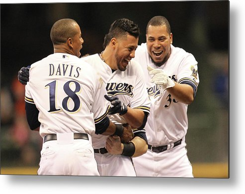Celebration Metal Print featuring the photograph Khris Davis, Wily Peralta, and Yovani Gallardo by Mike Mcginnis