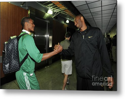Playoffs Metal Print featuring the photograph Kobe Bryant and Rajon Rondo by Andrew D. Bernstein