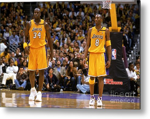 Playoffs Metal Print featuring the photograph Kobe Bryant and Shaquille O'neal by Andrew D. Bernstein