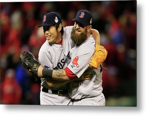 American League Baseball Metal Print featuring the photograph Kolten Wong, Mike Napoli, and Koji Uehara by Dilip Vishwanat
