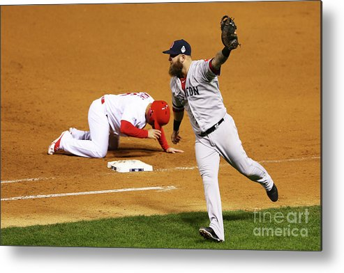 Ninth Inning Metal Print featuring the photograph Kolten Wong, Mike Napoli, and Koji Uehara by Elsa