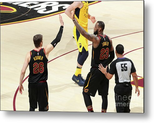 Playoffs Metal Print featuring the photograph Kyle Korver and Lebron James by Nathaniel S. Butler