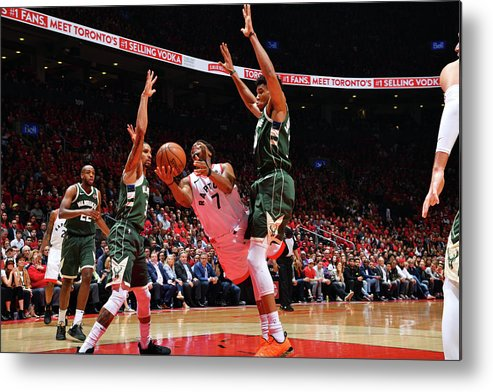 Playoffs Metal Print featuring the photograph Kyle Lowry and Giannis Antetokounmpo by Jesse D. Garrabrant