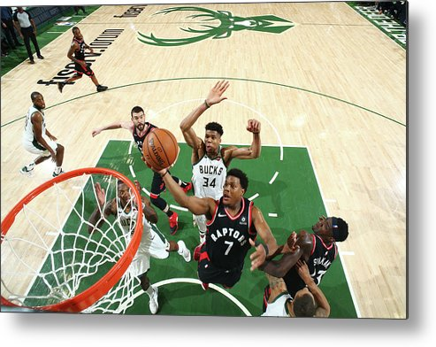 Playoffs Metal Print featuring the photograph Kyle Lowry and Giannis Antetokounmpo by Nathaniel S. Butler