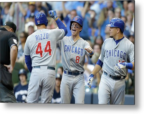 Three Quarter Length Metal Print featuring the photograph Kyle Schwarber, Anthony Rizzo, and Chris Coghlan by Mike Mcginnis