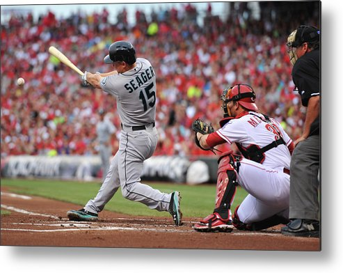 Great American Ball Park Metal Print featuring the photograph Kyle Seager by Jamie Sabau