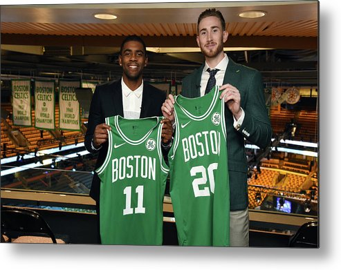 Nba Pro Basketball Metal Print featuring the photograph Kyrie Irving and Gordon Hayward by Brian Babineau