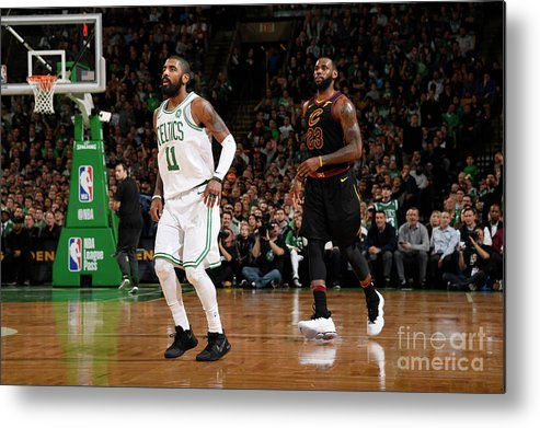 Nba Pro Basketball Metal Print featuring the photograph Kyrie Irving and Lebron James by Brian Babineau