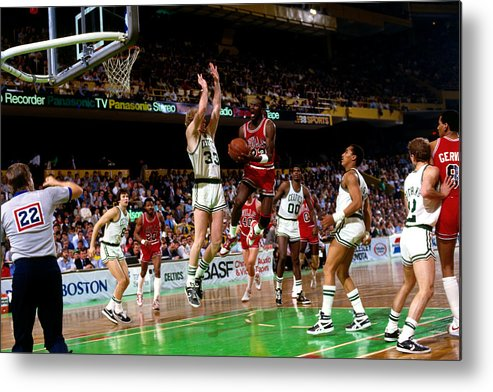 Chicago Bulls Metal Print featuring the photograph Larry Bird and Michael Jordan by Dick Raphael