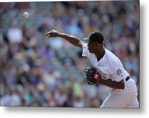 Working Metal Print featuring the photograph Latroy Hawkins by Doug Pensinger