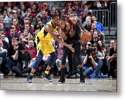 Playoffs Metal Print featuring the photograph Lebron James and Thaddeus Young by David Liam Kyle