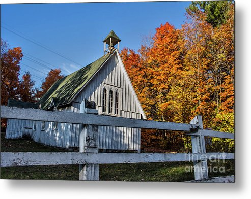 Church Metal Print featuring the photograph Little Church In the Woods by Francis Lavigne-Theriault