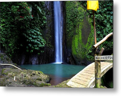 Waterfall Metal Print featuring the digital art Lonely waterfall by Worldvibes1
