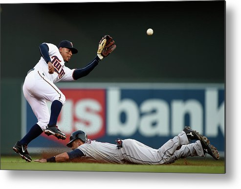 Second Inning Metal Print featuring the photograph Lonnie Chisenhall And Eduardo Escobar by Hannah Foslien