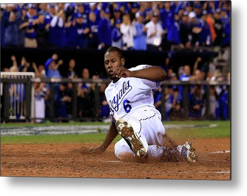 Game Two Metal Print featuring the photograph Lorenzo Cain and Billy Butler by Elsa