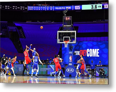 Metal Print featuring the photograph Los Angeles Lakers v Philadelphia 76ers by Jesse D. Garrabrant