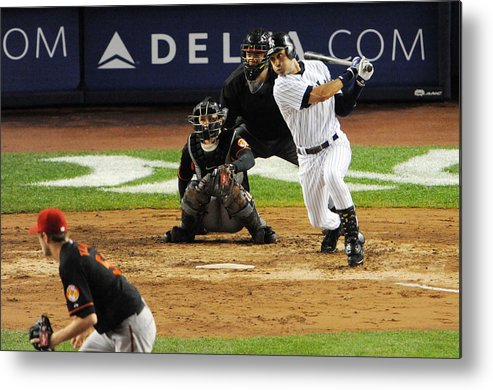 American League Baseball Metal Print featuring the photograph Lou Gehrig and Derek Jeter by New York Daily News