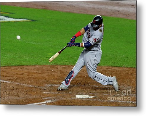 People Metal Print featuring the photograph Luis Severino, Carlos Santana, and Jay Bruce by Mike Stobe