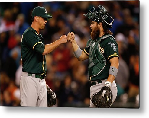 American League Baseball Metal Print featuring the photograph Luke Gregerson and Derek Norris by Otto Greule Jr