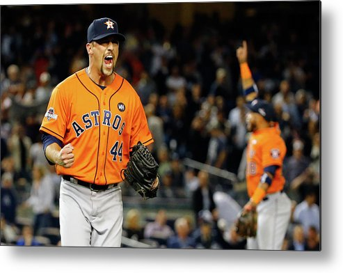 Playoffs Metal Print featuring the photograph Luke Gregerson and Luis Valbuena by Al Bello