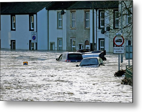 England Metal Print featuring the photograph Major Incident Declared As Storm Desmond Wreaks Havoc In Cumbria by Christopher Furlong