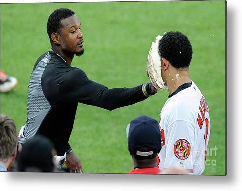 People Metal Print featuring the photograph Manny Machado and Adam Jones by Greg Fiume