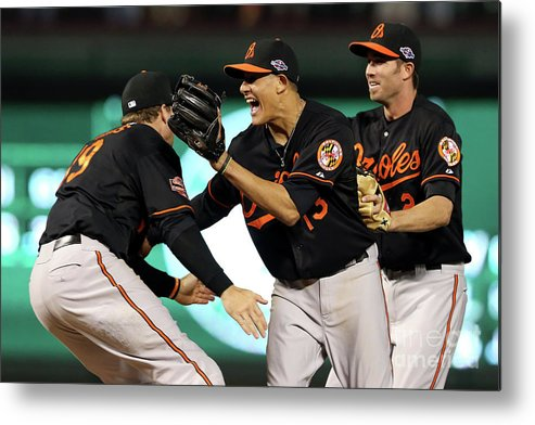 Playoffs Metal Print featuring the photograph Manny Machado and Chris Davis by Ronald Martinez
