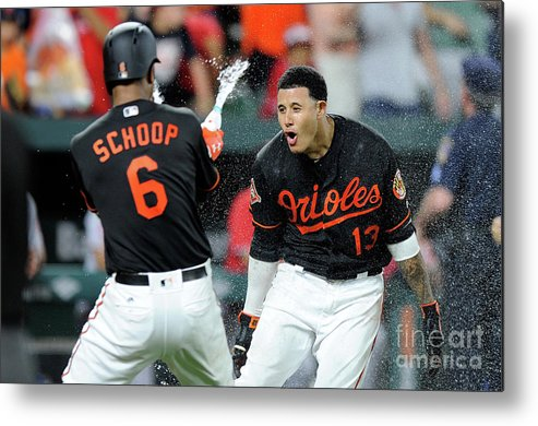 Three Quarter Length Metal Print featuring the photograph Manny Machado and Jonathan Schoop by Greg Fiume