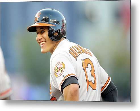 American League Baseball Metal Print featuring the photograph Manny Machado by Greg Fiume