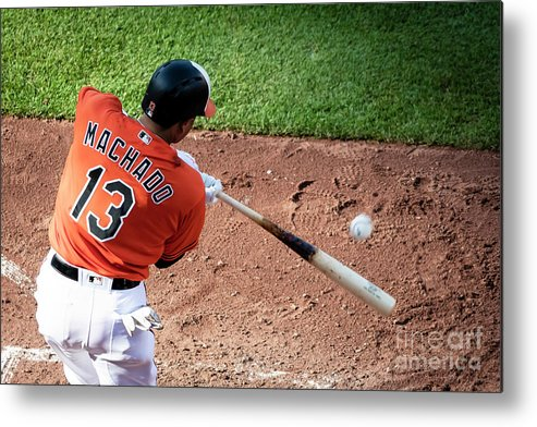 Three Quarter Length Metal Print featuring the photograph Manny Machado by Scott Taetsch