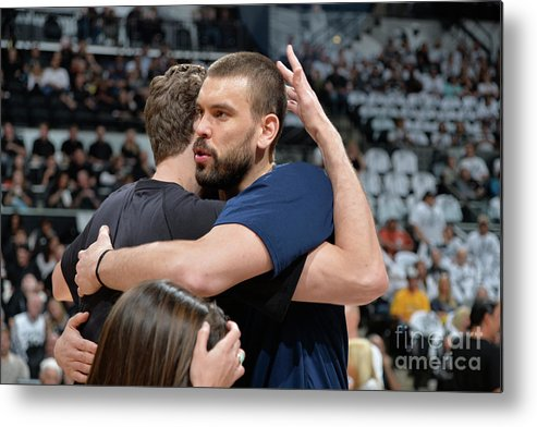 Playoffs Metal Print featuring the photograph Marc Gasol and Pau Gasol by Mark Sobhani