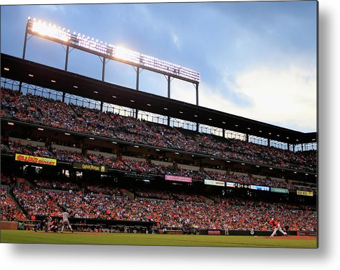People Metal Print featuring the photograph Mark Teixeira and Bud Norris by Rob Carr